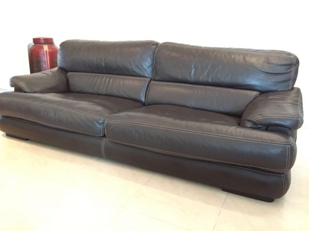 roche bobois dark brown leather sofa at 1 2 price singapore roche bobois club chairs. Black Bedroom Furniture Sets. Home Design Ideas