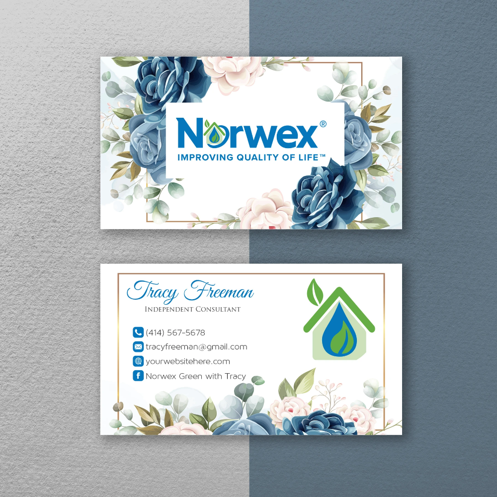 Norwex Business Cards Personalized Floral Norwex Template Nr24 Custom Business Cards Cleaning Business Cards Personal Business Cards