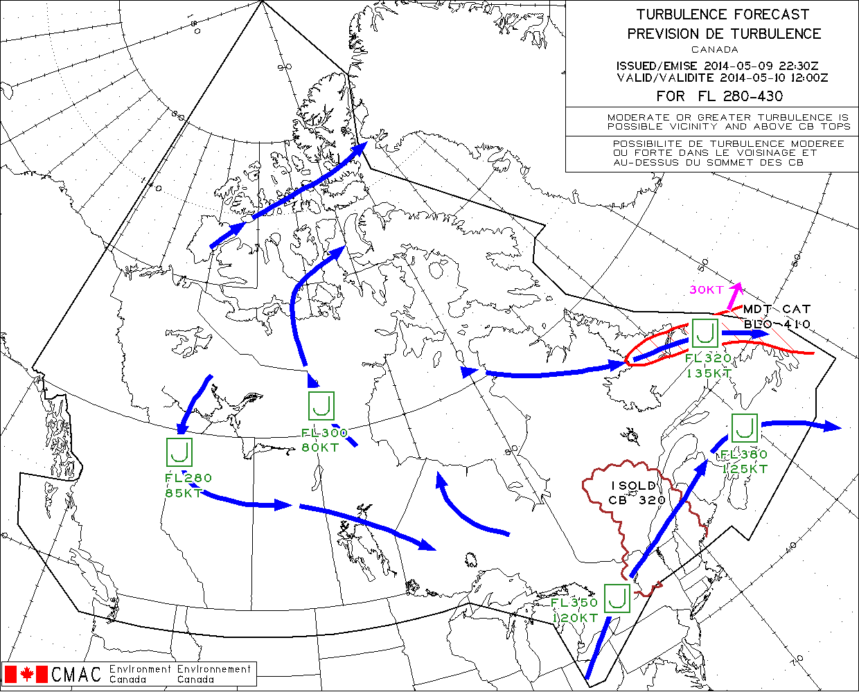 Canada Turbulence Map Canada Turbulence Trouble Spots     Turbulence Forecast | Canada