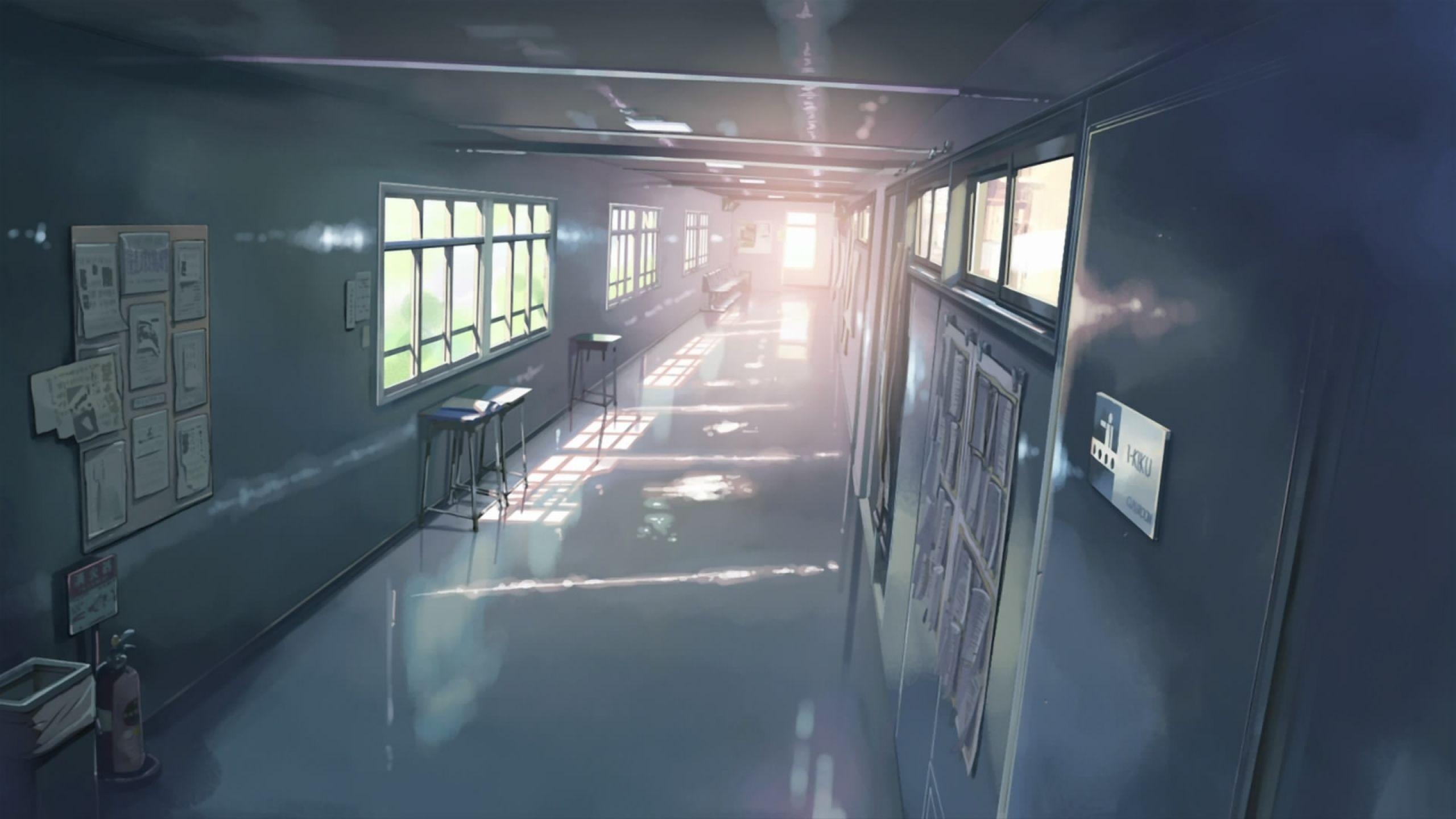 school makoto shinkai hallway 5 centimeters per second