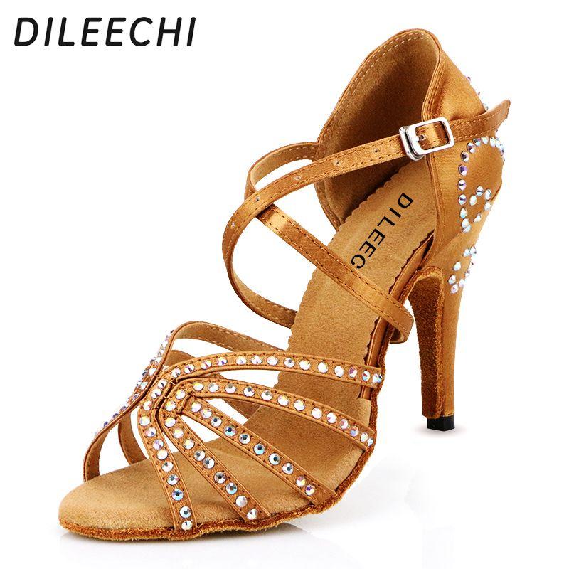 Zapatos de salón de satén marrón Diamantes de imitación del peep toe Zapatos de baile de salsa de tiras Zapatos de baile latino de las mujeres RAlHWo63tm