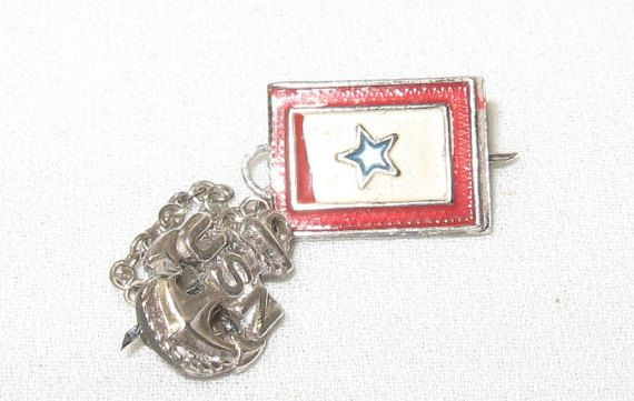 WWII Navy Sterling Silver Mother Pin Son in by AntiquesduJour