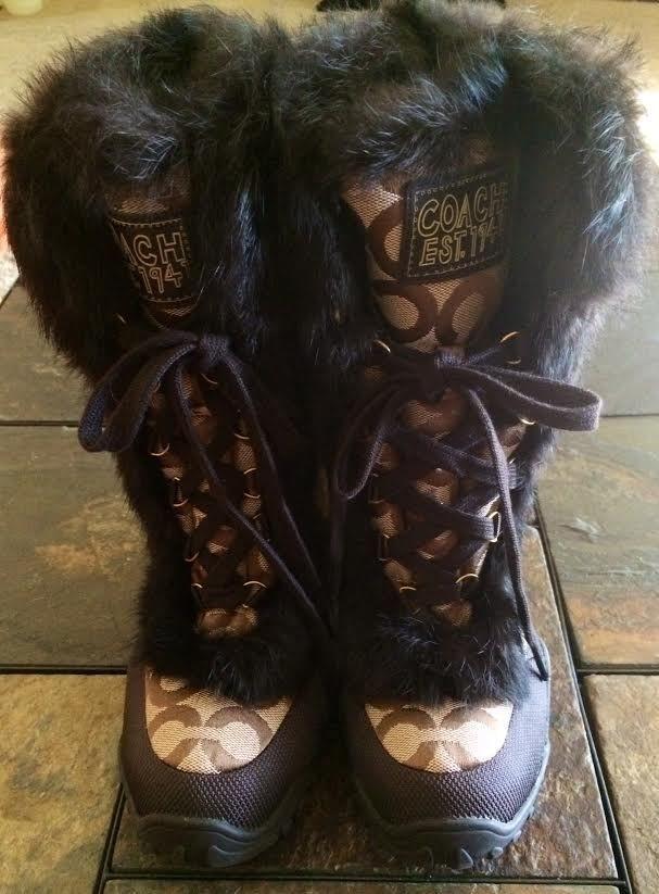 Women's Coach JENNIE Rabbit Fur Snow Boots Beige & Brown Sz 6 Logo Jacquard Q522 #Coach #SnowWinter