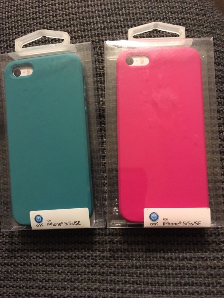 online retailer 72da3 59d98 Two NEW Onn Phone Cases for iPhone 5 / 5s / SE Hot Pink & Aqua New ...