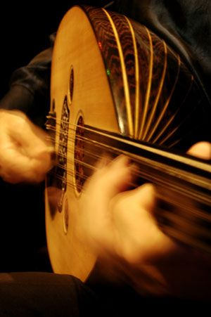 The oud is a pear-shaped stringed instrument commonly used in North African (Chaabi and Andalusian) and Middle Eastern music.