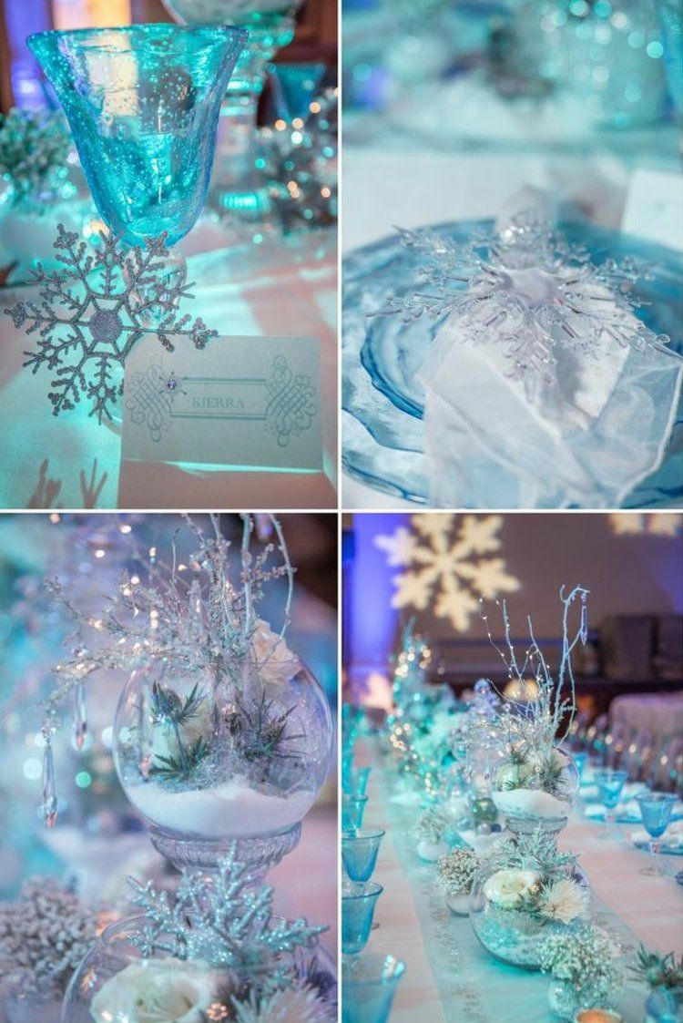 th me de mariage la reine des neiges d co de table en blanc et bleu vaisselle en verre et. Black Bedroom Furniture Sets. Home Design Ideas