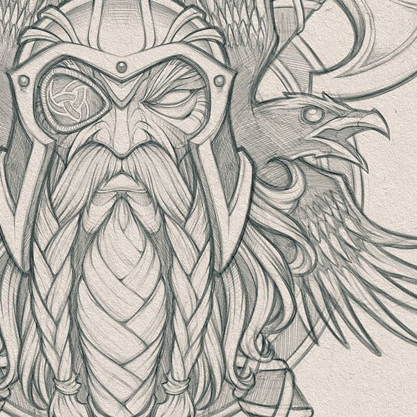"""Absorb81 // Craig Patterson on Instagram: """"Odin's Ravens // Pencils for a cool collaboration project in the works. #odin #viking #god #axe #raven #birds #wings #pencils #sketch…"""""""