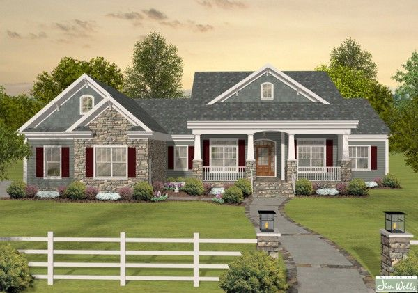 A2121 Siding Stone Dark Green Front The House Designers Craftsman House Plans Basement House Plans Ranch House Plans