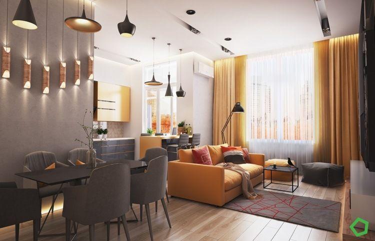 Gelbe Sofa Und Vorhänge Als Warme Akzente Zur Grauen Einrichtung
