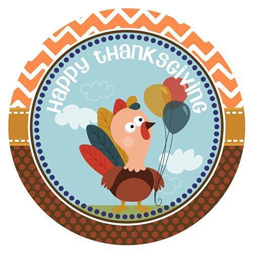 Happy Thanksgiving Stickers - Turkey Party Favor Labels - Set of 30 @adorebynat