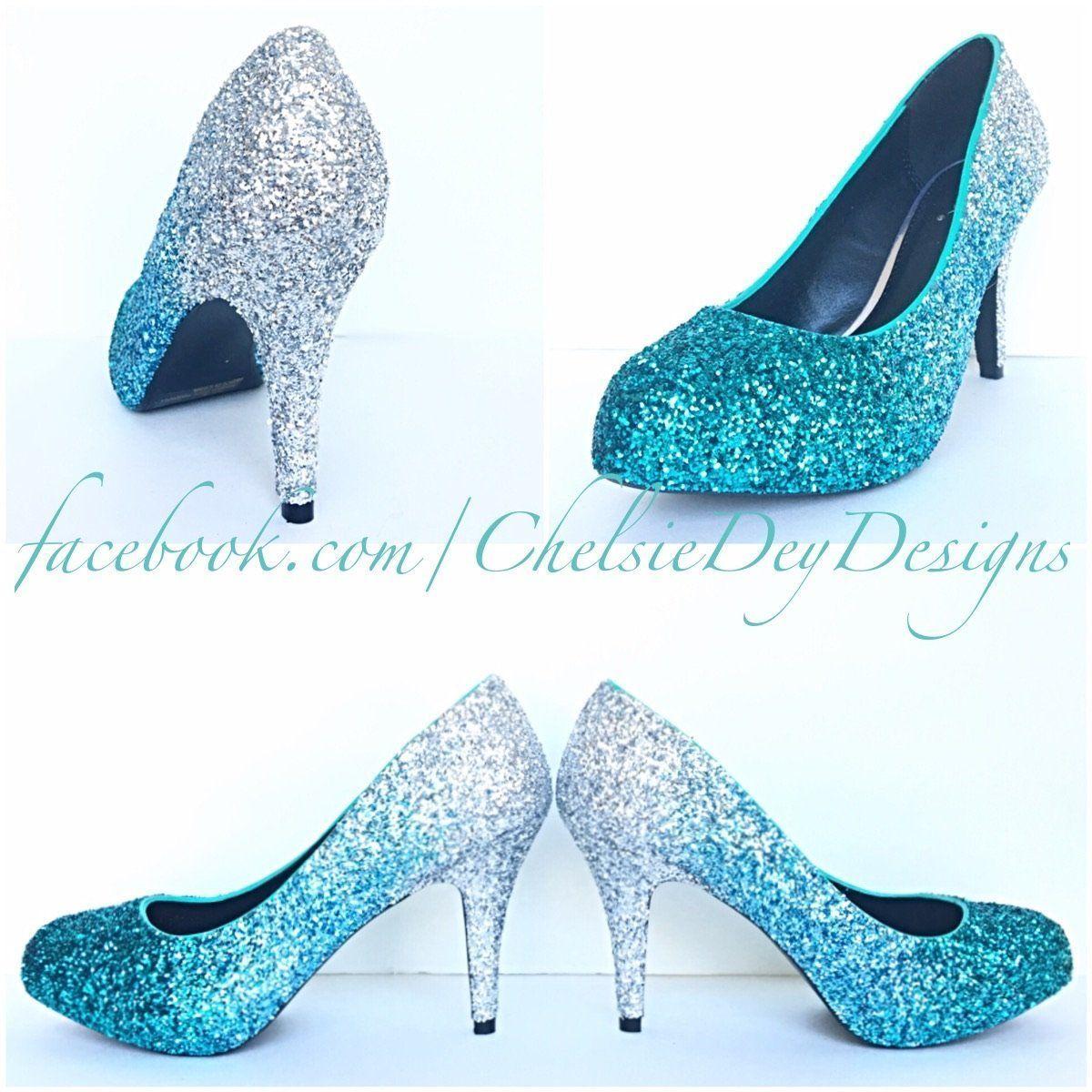 Blue Aqua Ombre Glitter High Heels, Something Blue Wedding Shoes ...