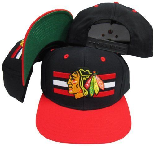 b7f817c9abe Chicago Blackhawks Black Red Two Tone Snapback Adjustable Plastic Snap Back  Hat   Cap by