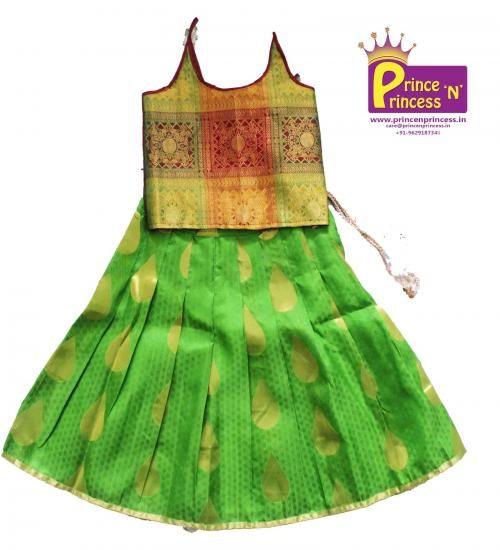 2801b953ad7332 Kids Pure Kancheepuram silk pavadai langa .. BUY at www.princenprincess.in  . ... Kids Frock