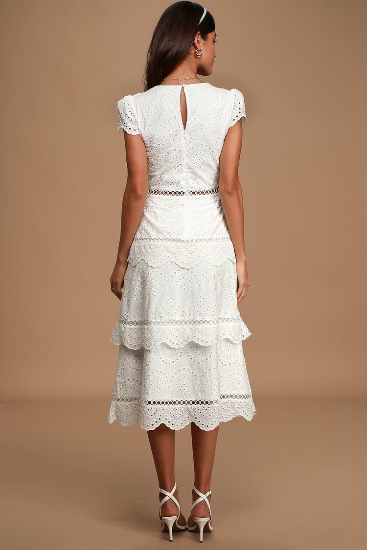 Sunshine Soiree White Eyelet Lace Tiered Midi Dress Tiered Midi Dress Eyelet Wedding Dress Dresses [ 1125 x 750 Pixel ]