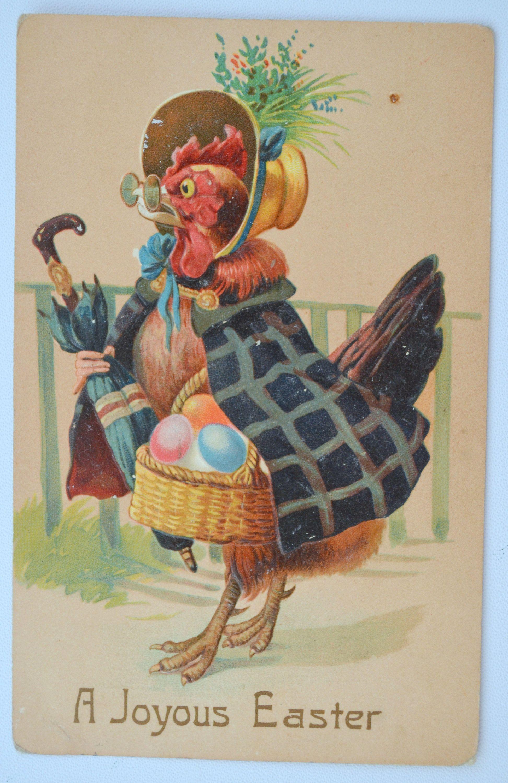 Easter postcard humanized anthropomorphic hen in shawl