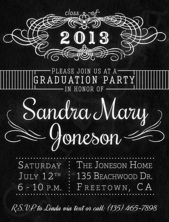 Chalkboard Graduation Party Invitation Printable by CyanAndSepia