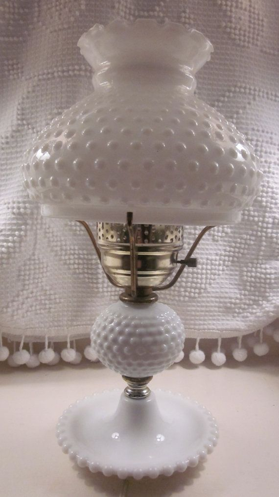 Large Fenton Hobnail Milk Glass Lamp 1950 S 1960 S By
