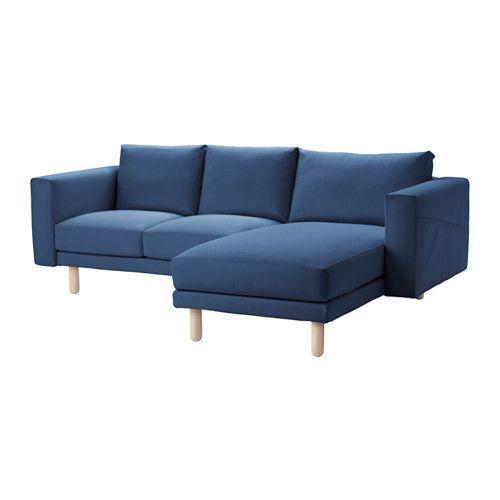 IKEA - NORSBORG, 2-seters sofa med sjeselong, bjørk, Edum mørk blå 5595,-