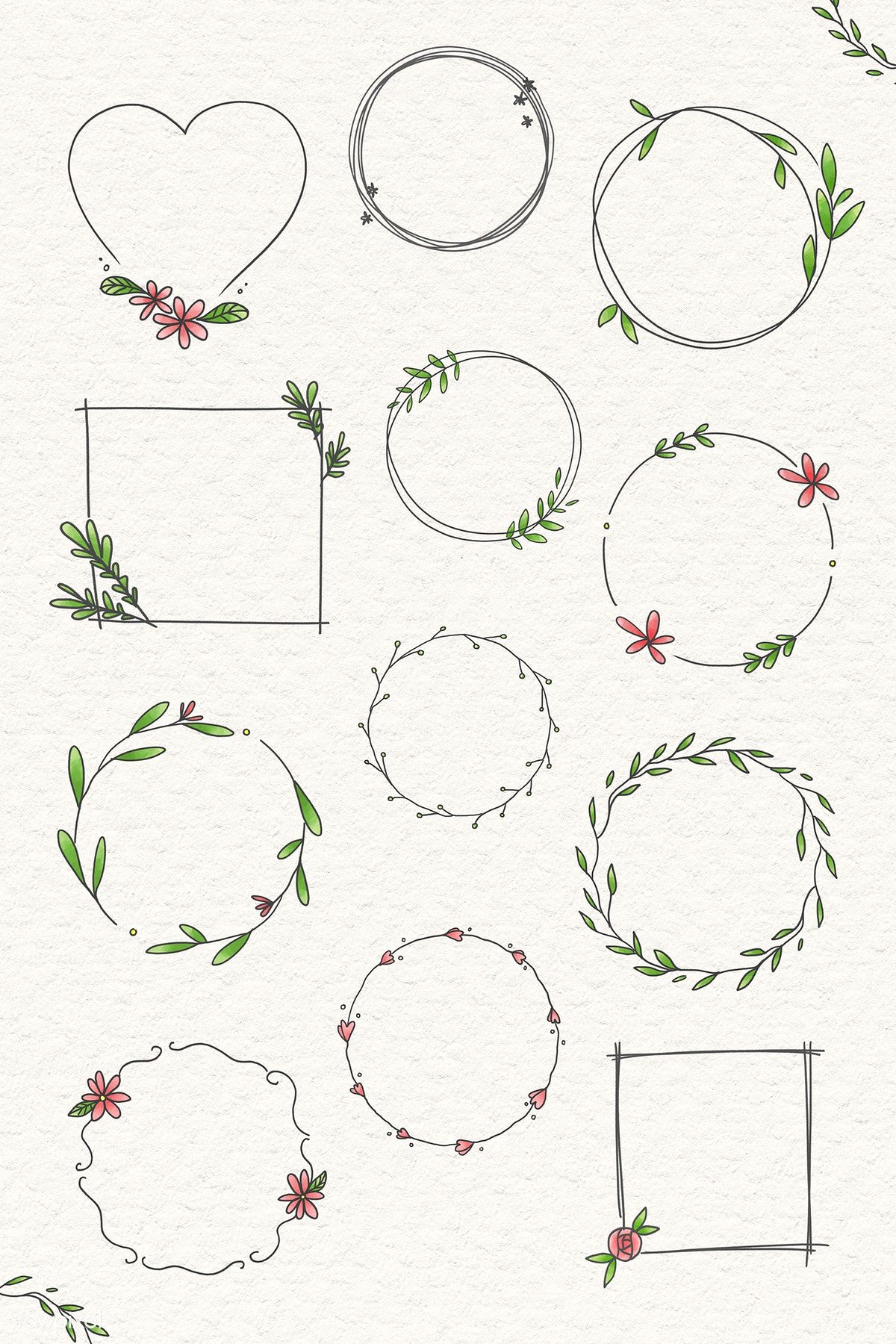 Photo of Download the premium illustration of the doodle floral wreath on beige
