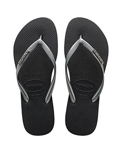 eb41a2e04 Havaianas Slim Logo Black Silver Top Womens Flip Flops Size 3738 -- See  this great product.
