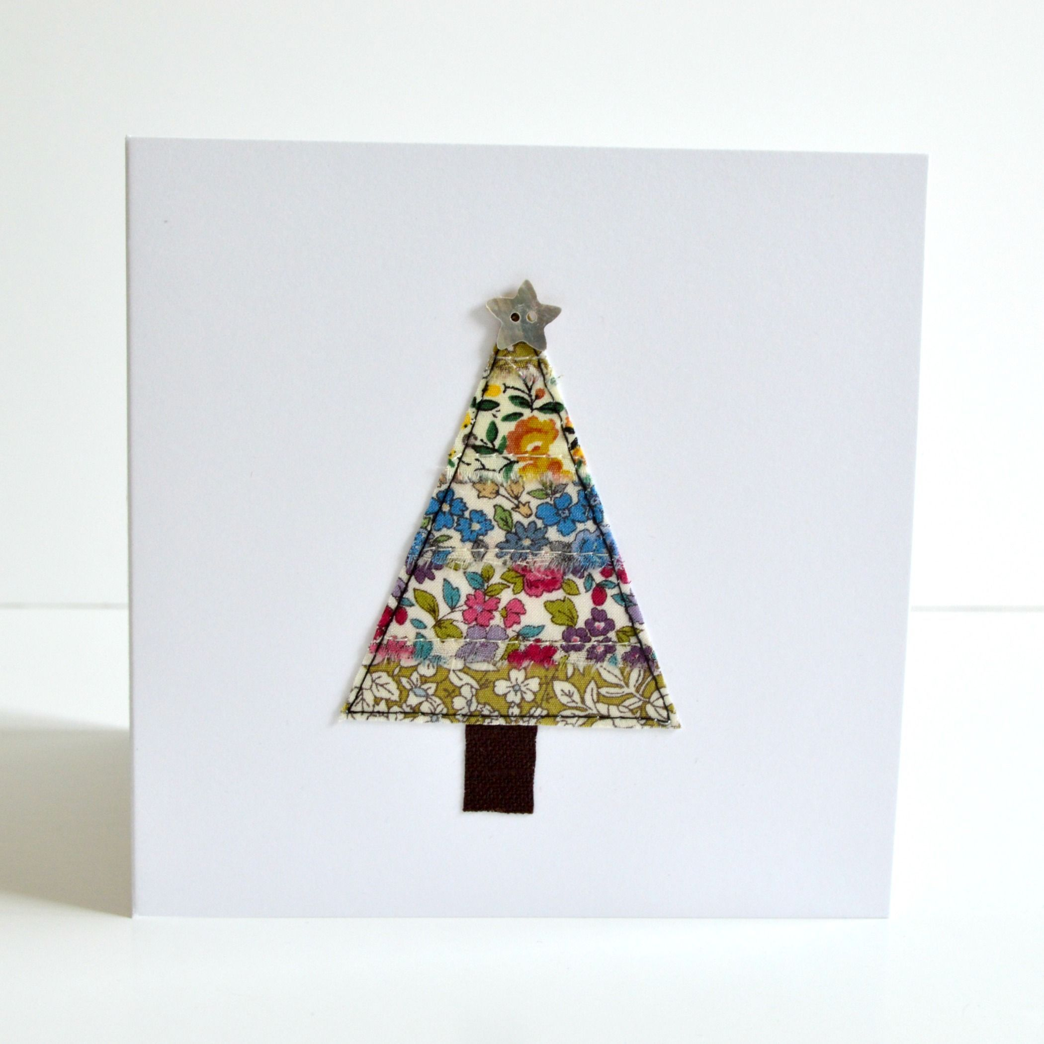 Embroidered Fabric Christmas Tree Christmas Card By Stitch Galore