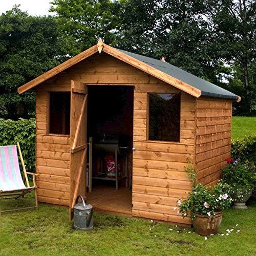 6 x 8 premier reverse wooden tongue and groove apex garden shed with higher ridge 2 windows and single door tongue and groove floor and roof sat delivery