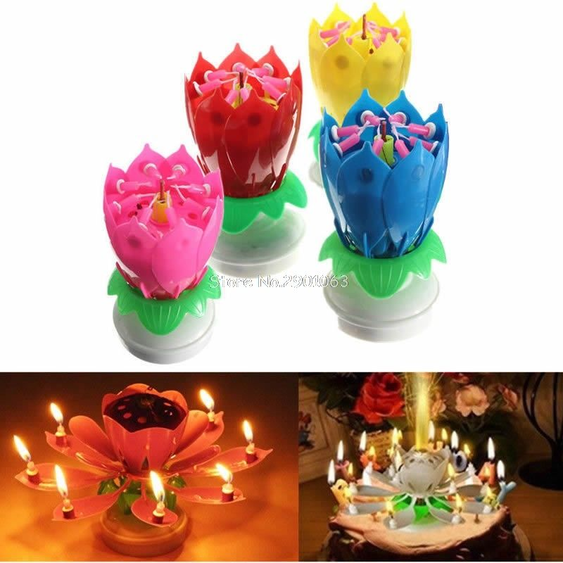 Musical Romantic Lotus Candles Happy Birthday Flower Rotating Party Gift Candle Lights H06 SMS