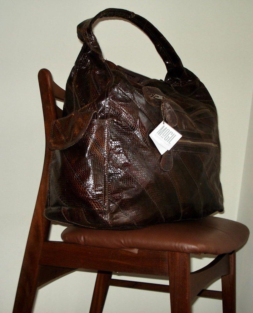 Mogil Australia Xxl Nos Rare Snakeskin Holdall Bag Tote Brown Travel Handbag Brn Holdall Bag Vintage Designer Bags Bags