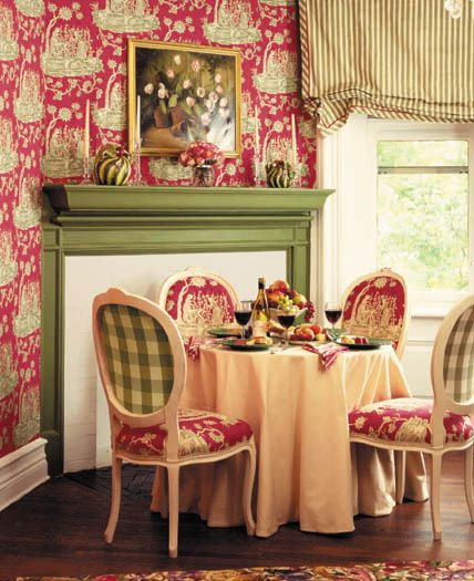 charming breakfast nook....adore the gingham and toile combo on the chairs