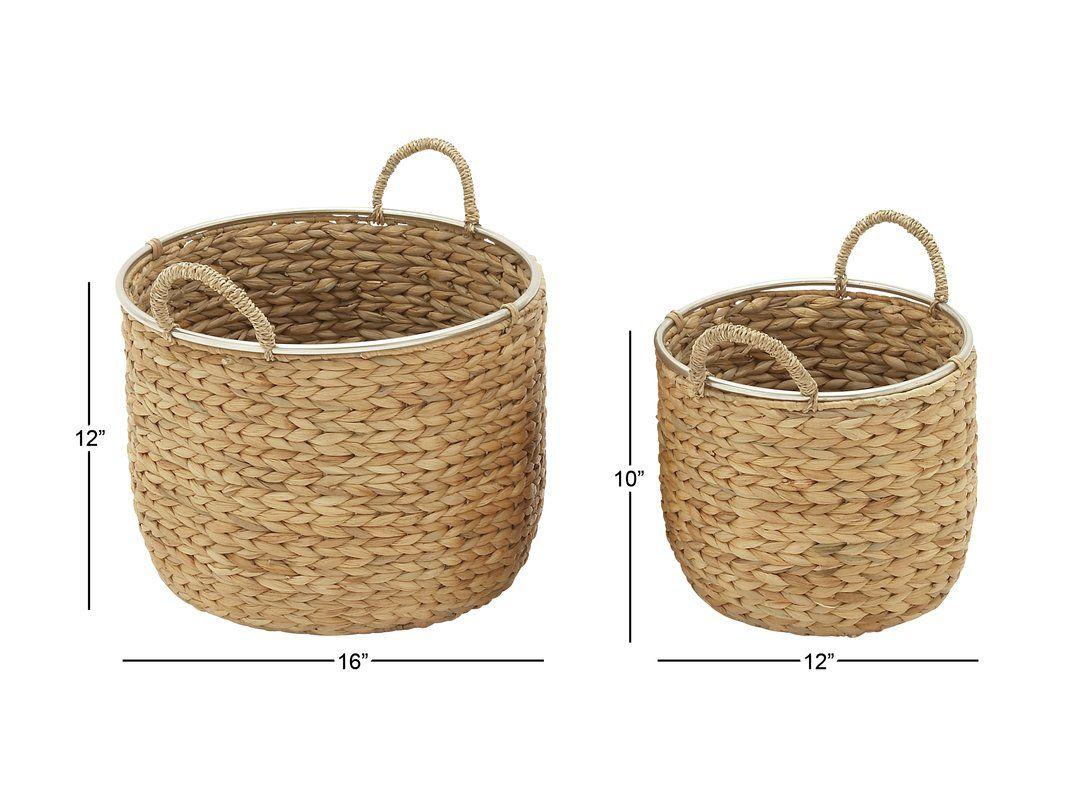 2 Piece Wicker Basket Set Reviews Allmodern Tall Laundry Basket Basket Sets Wicker