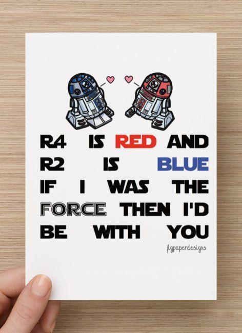 Star Wars Valentines Day Card R2d2 R4d4 Funny Vday Card Star Wars Valentines Nerdy Valentines Geek Valentine