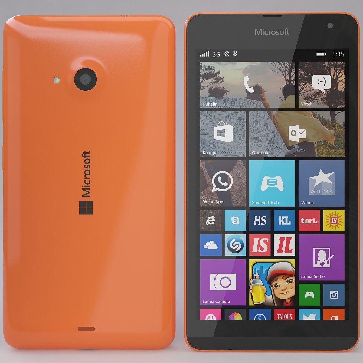 3d Model Microsoft Lumia 535 Orange C4d Obj 3ds Fbx Microsoft Lumia Microsoft Best Android Phone