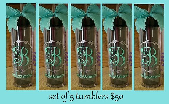 Set of 5 Tumblers 50.00......Personalized by BridesDayBoutique