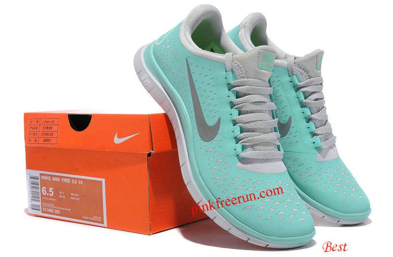 new styles 239a2 f77a1 Tiffany Blue Nike Free 3.0 V4 Womens Blue White Silver ...