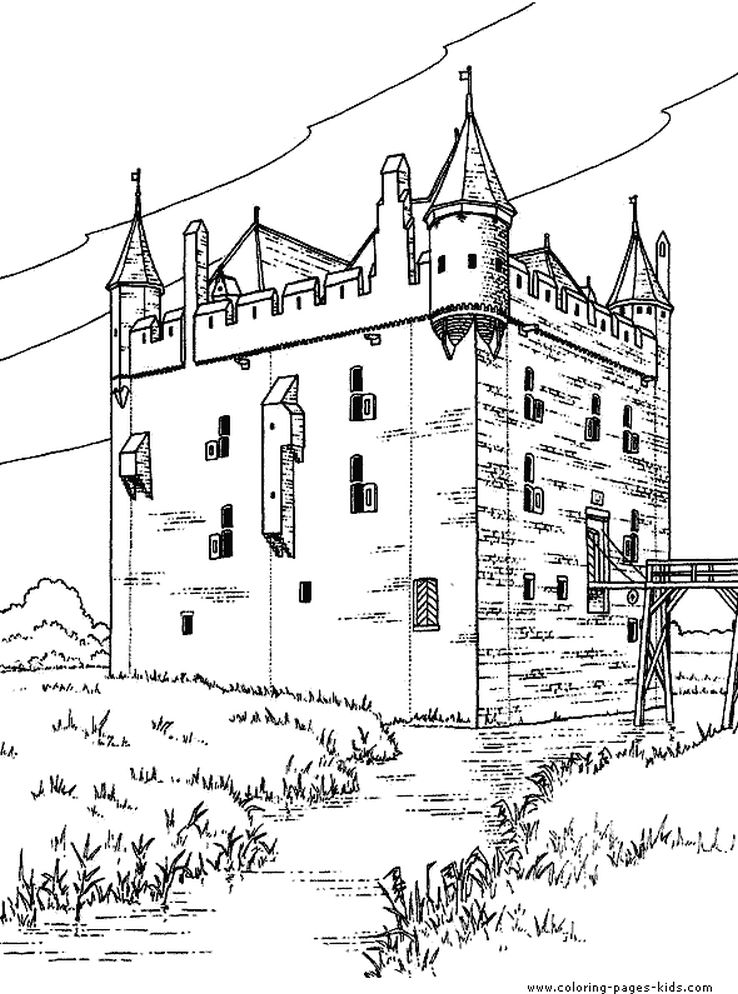 Printable medieval castle detailed coloring pages for adults ...