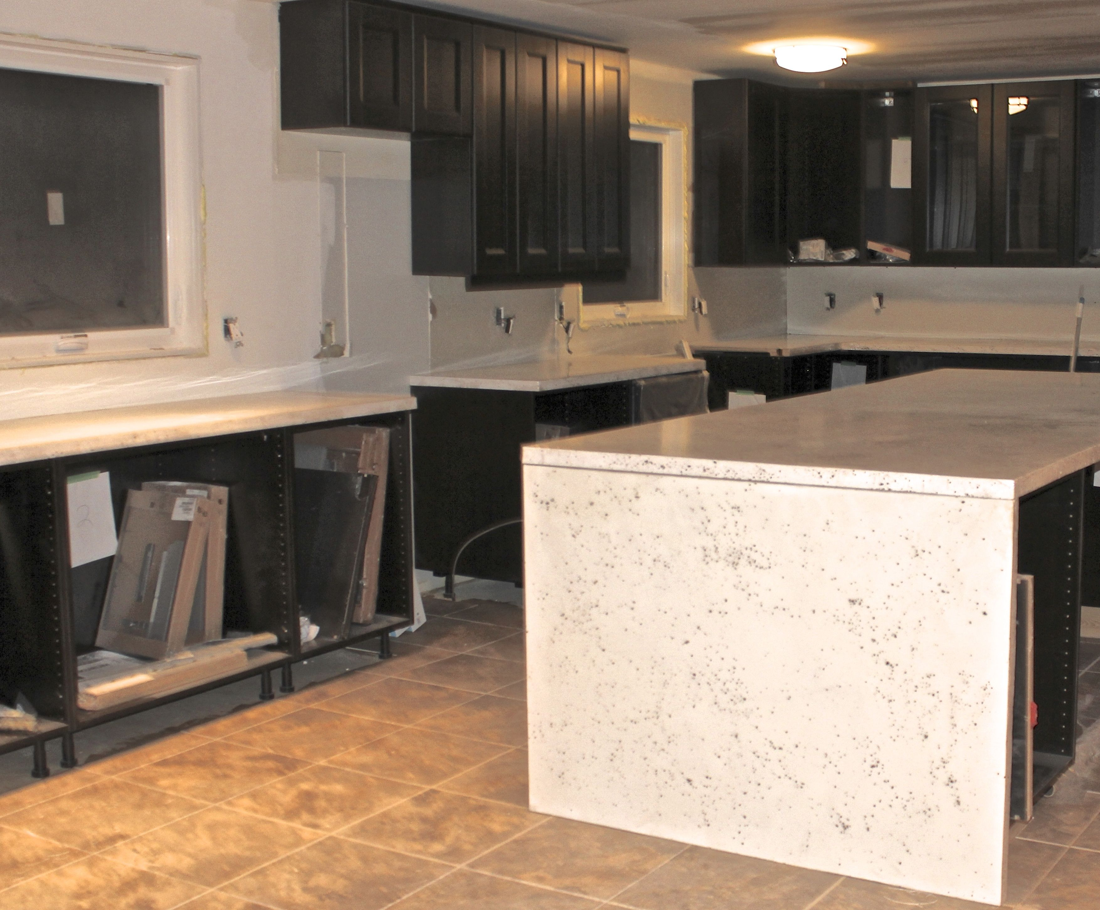 Faux White Quartz Countertop With Waterfall Overhang Www