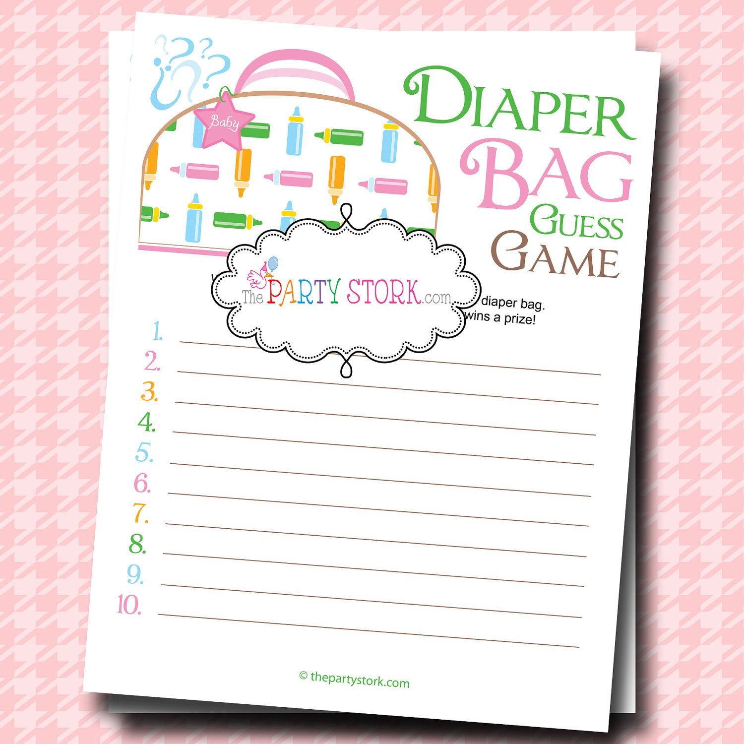 Baby Shower Games, Unique, Diaper Bag Guess Game, PRINTABLE