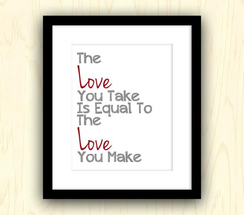 Love Modern Typography Art Print Quote Beatles Lyrics from Three Bees Designs