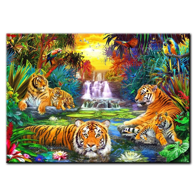 Drill Tiger Family 5D Diamond DIY Painting Craft Kit Home Wall Hanging