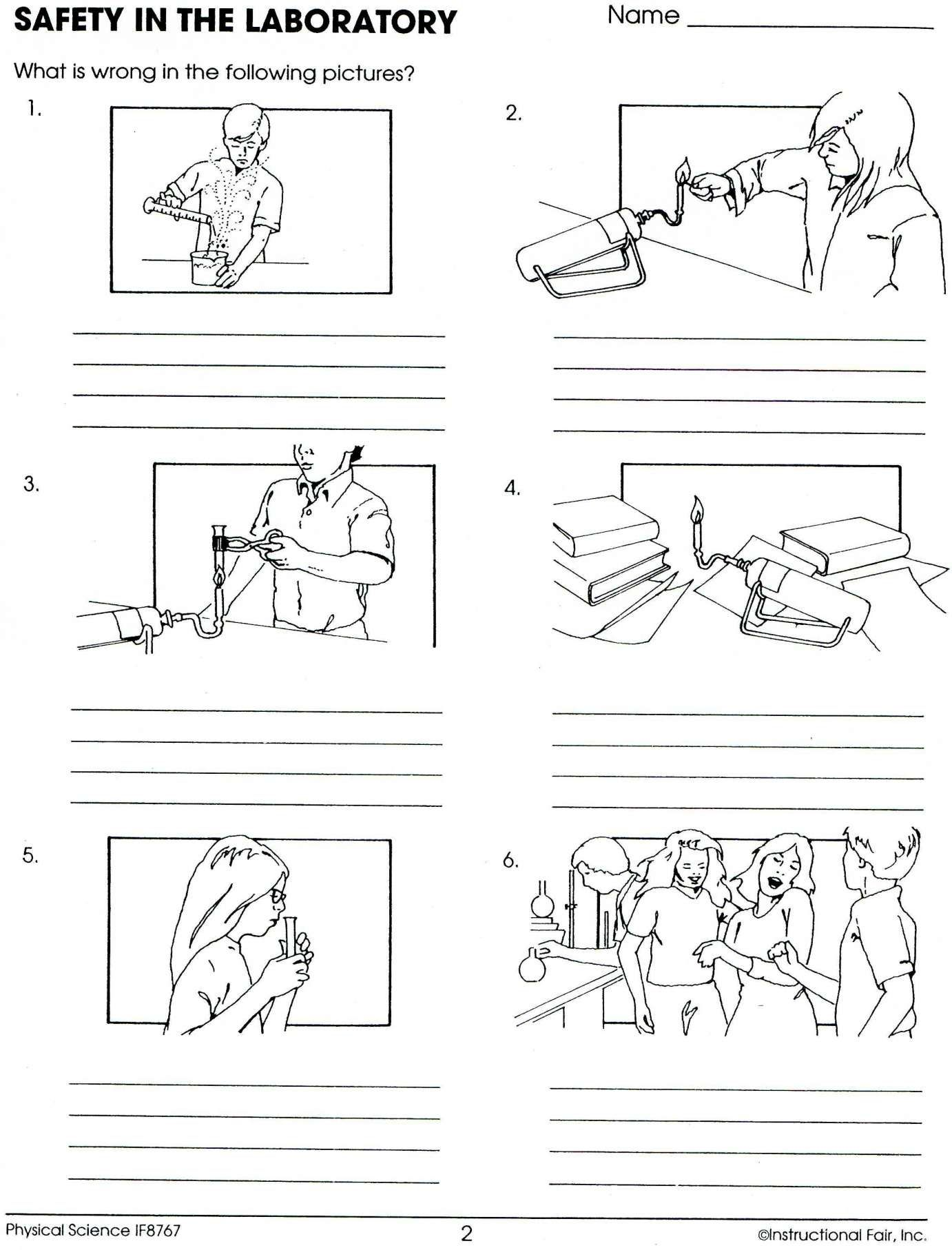 8 Safety First Science Worksheet