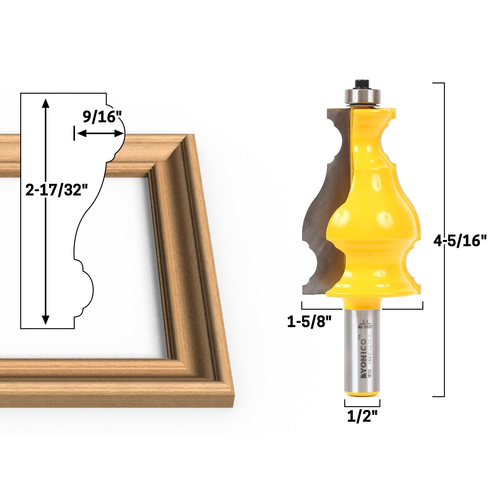 Yonico 16169 Elaborate Chair Rail Molding Router Bit 1//2-Inch Shank