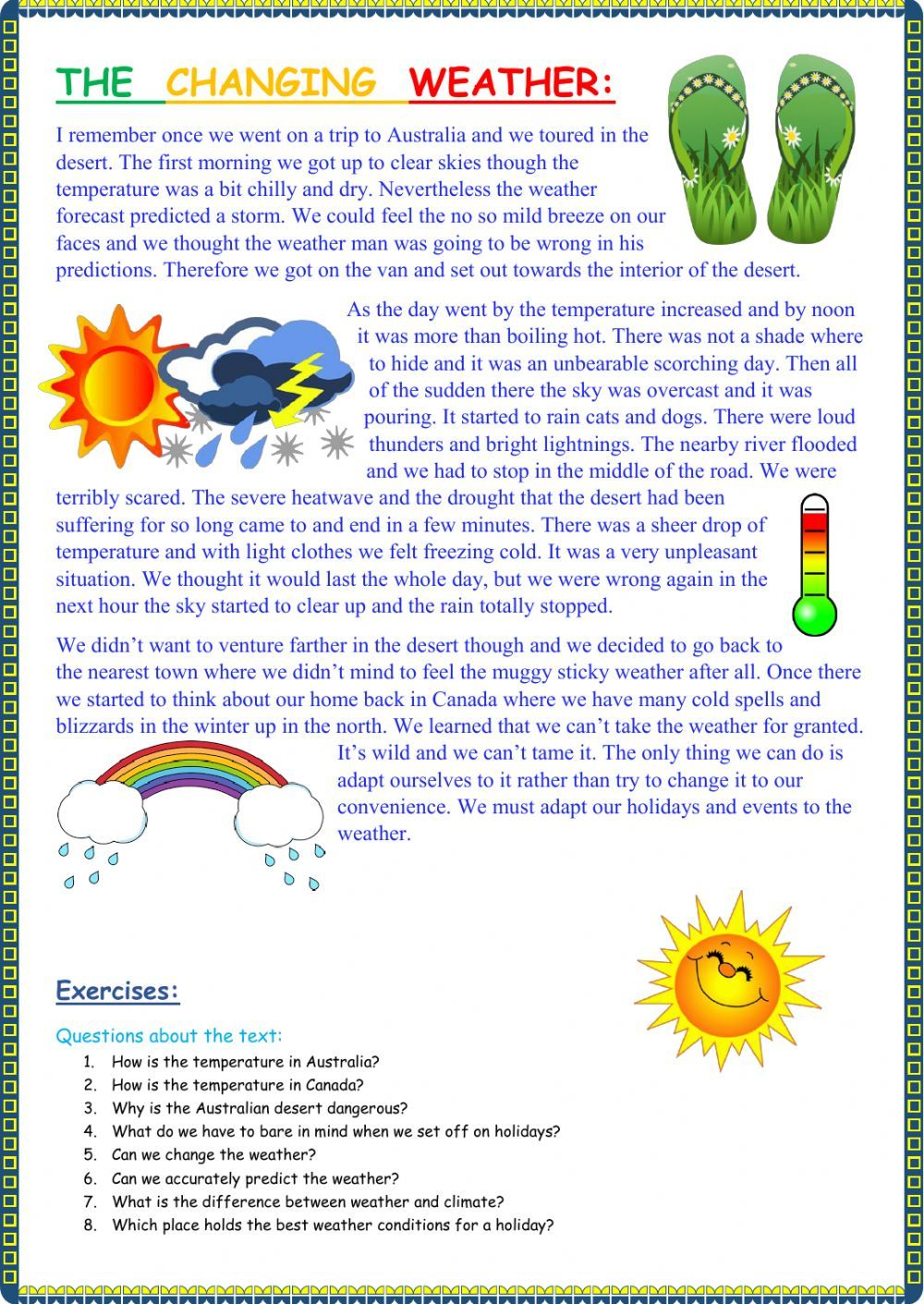 The weather interactive and downloadable worksheet. You can do the  exercises online or down…   Reading comprehension worksheets [ 1411 x 1000 Pixel ]