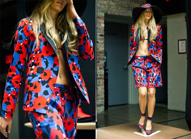 stunning red and electric blue in DKNY SS12