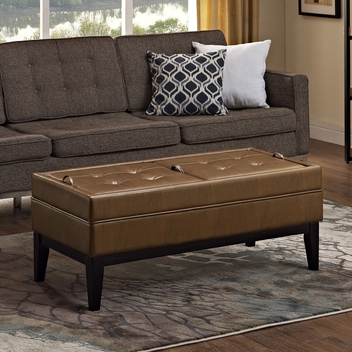 This Multi Use Storage Ottoman Functions As A Seat Coffee Table Or Foot Rest For Your Home Reversible Cushioned Panels Provide Both Sitting Serving