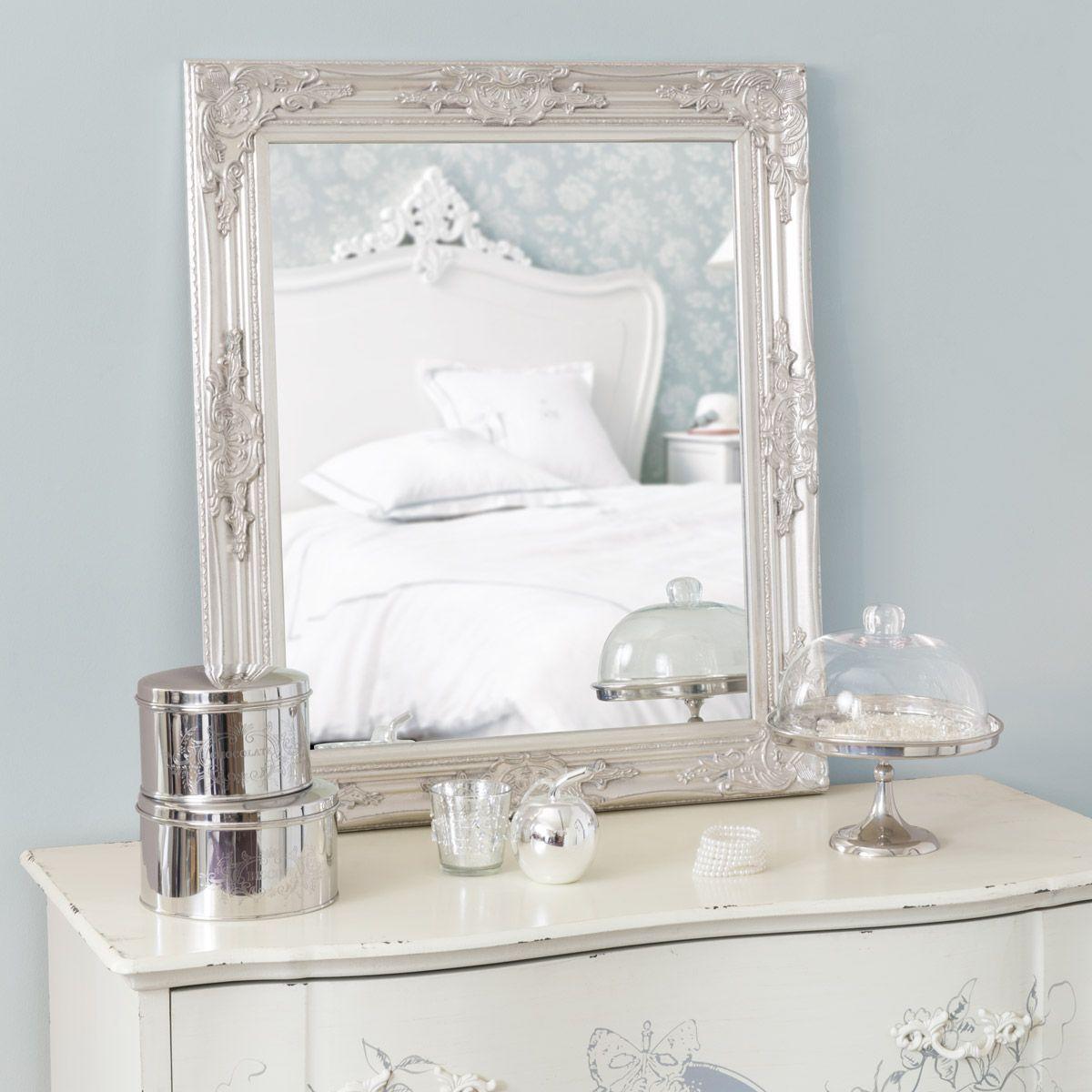 Miroir argent h 74 cm enzo romantique espejos for Espejos rectangulares plateados