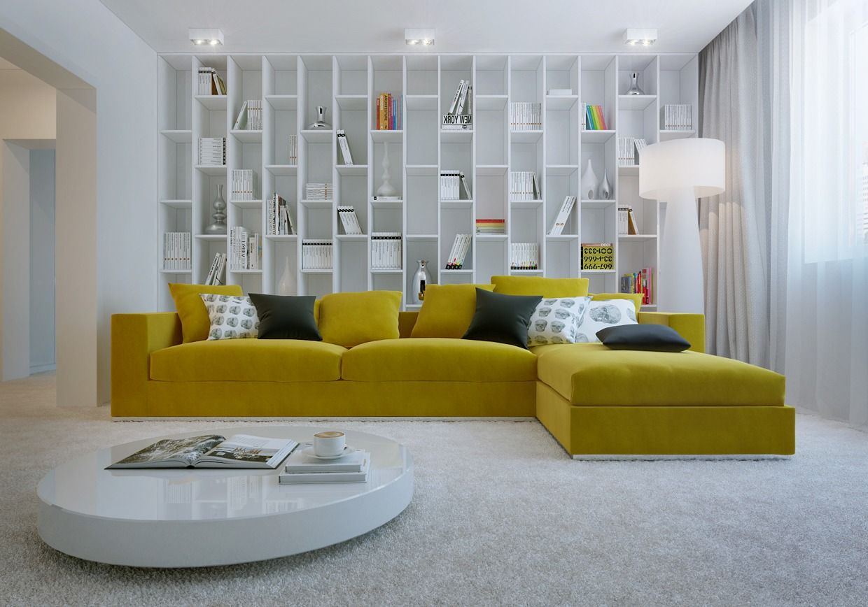 Awesome Simple Living Room Ideas Recommending L Shaped Yellow Fabric ...
