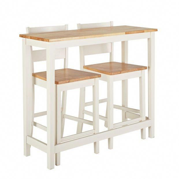 Buy Habitat Chicago Solid Wood Bar Table & 2 Two Tone Stools | Space saving dining sets | Argos