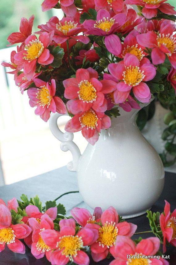 3 hot pink plastic flowers anemones artificial flowers retro new 3 hot pink plastic flowers anemones artificial flowers retro new old stock mightylinksfo
