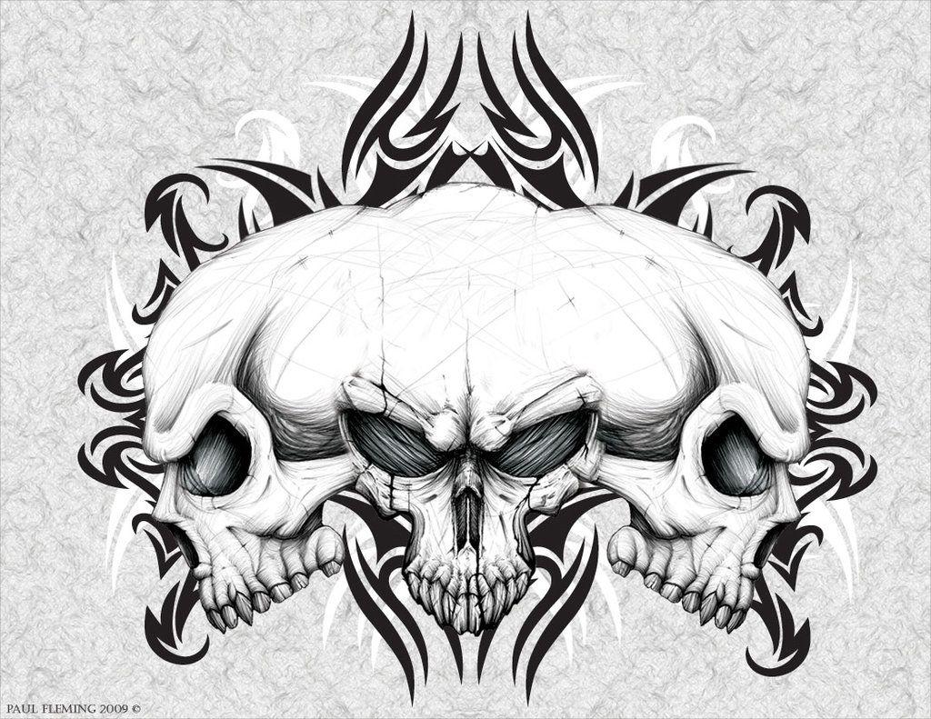 Three Headed Skull Skulls Drawing Skull Artwork Skull Art