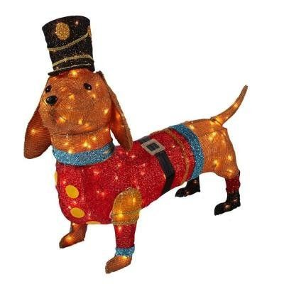 Christmas Decoration Indooroutdoor Lighted Tinsel Dachshund Dog In Toy Soldier Uniform 40 Check Out This Great P Dachshund Christmas Christmas Dog Dachshund